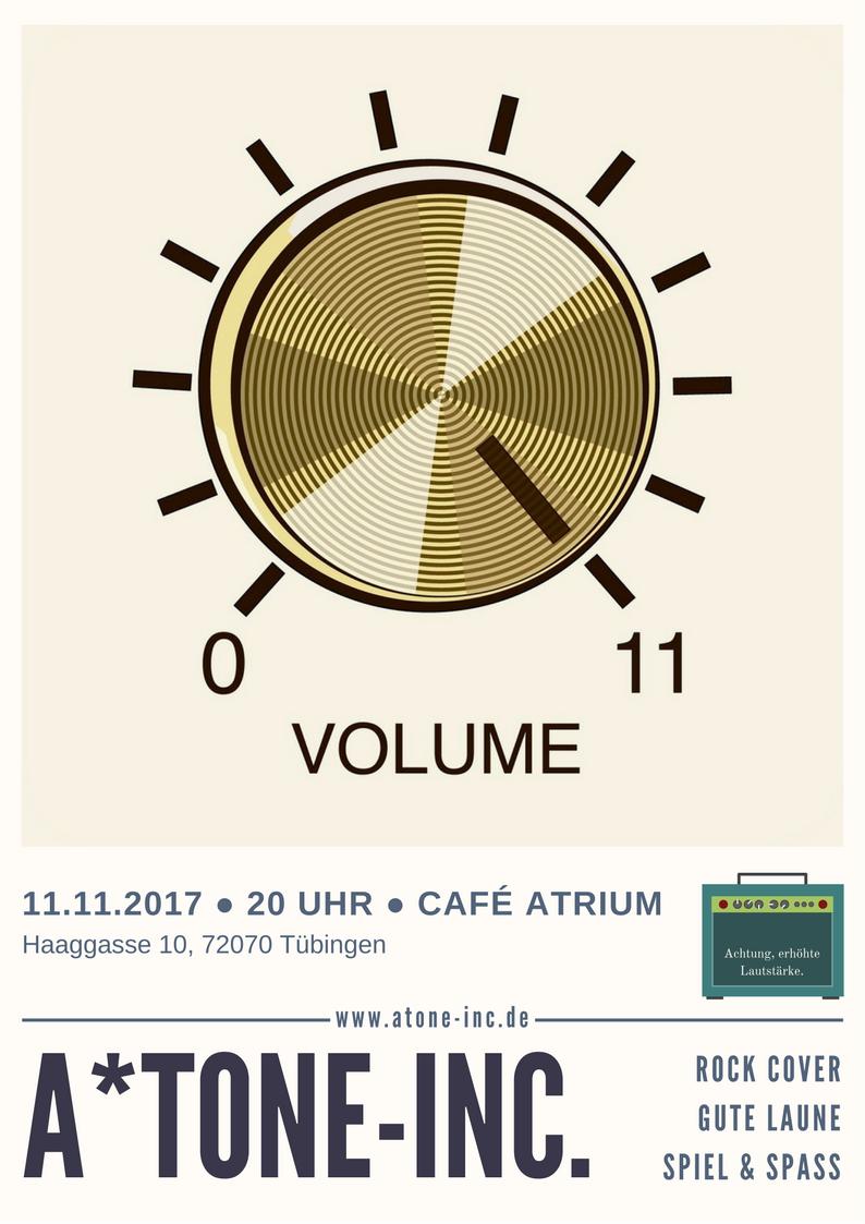 Atone-Inc. Gig am 11.11. im Café Atrium in Tübingen